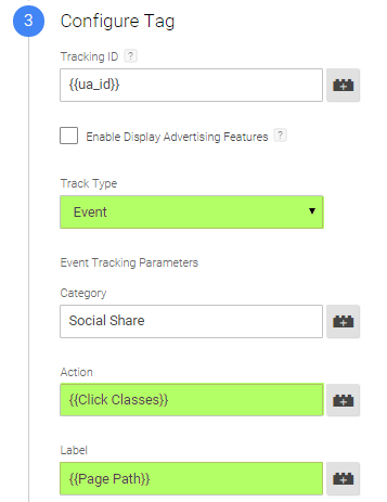 Configuratie Google Analytics event tracking tag