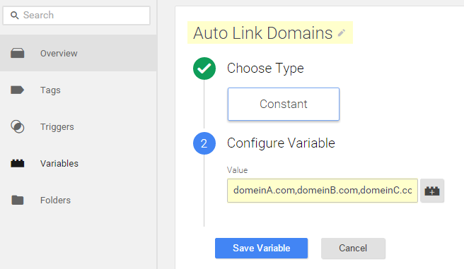 auto link variable - cross domain tracking