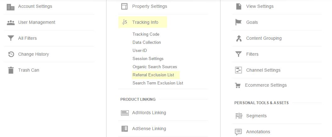 Google Analytics referral exclusion list